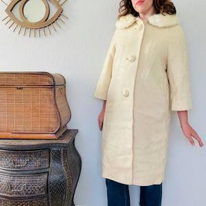 Vtg 50s-60s Cream Fur Collar Long Swing Coat M-L